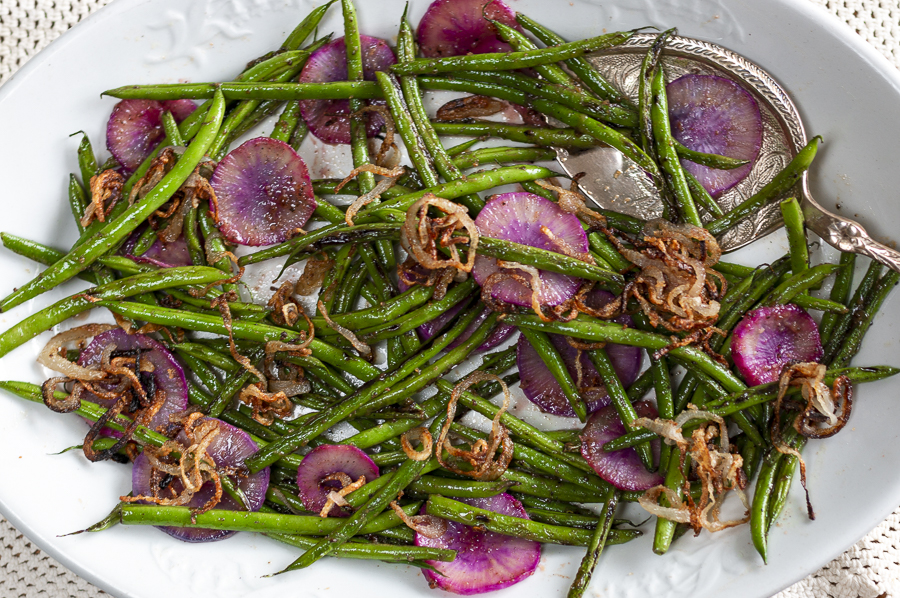 Haricot Vert with Sliced Radishes and Pan-Fried Shallots with a Miso-Lemon-Maple Glaze