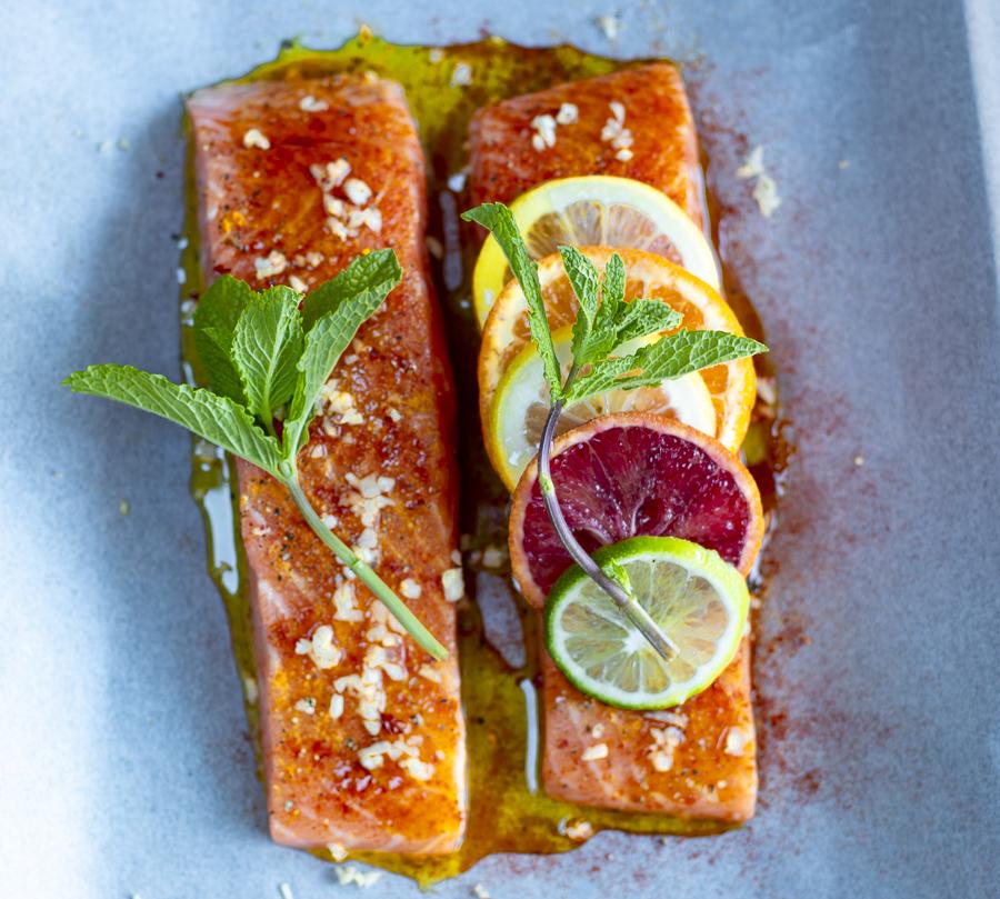 Salmon in Parchment with Multi-Citrus Salsa