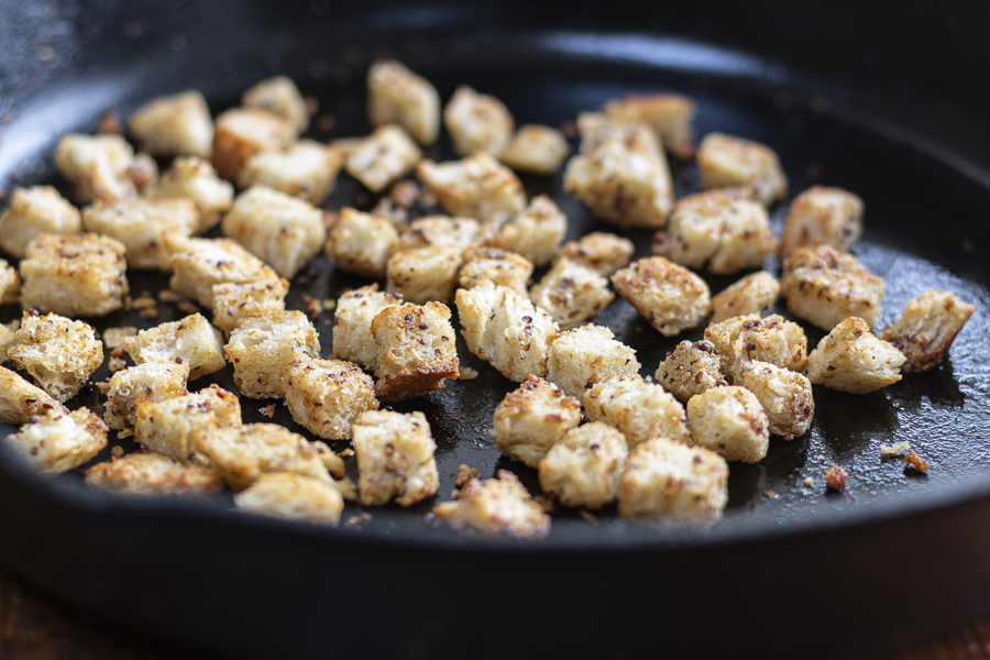 Crispy Croutons with Grainy Mustard and Garlic