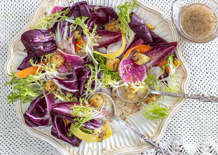 Radicchio Salad with Mustard Croutons and Grainy Mustard Vinaigrette