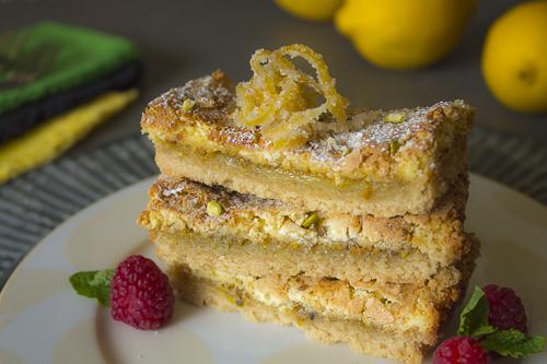 Pistachio Lemon Bars for Passover with raspberries