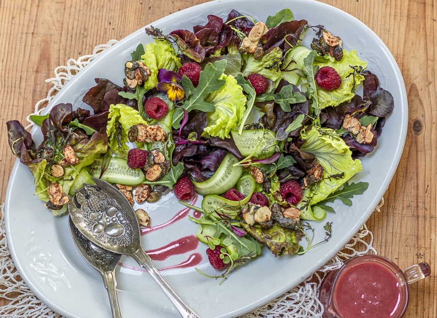 Raspberry Crunch Salad with Raspberry-Almond Oil Vinaigrette