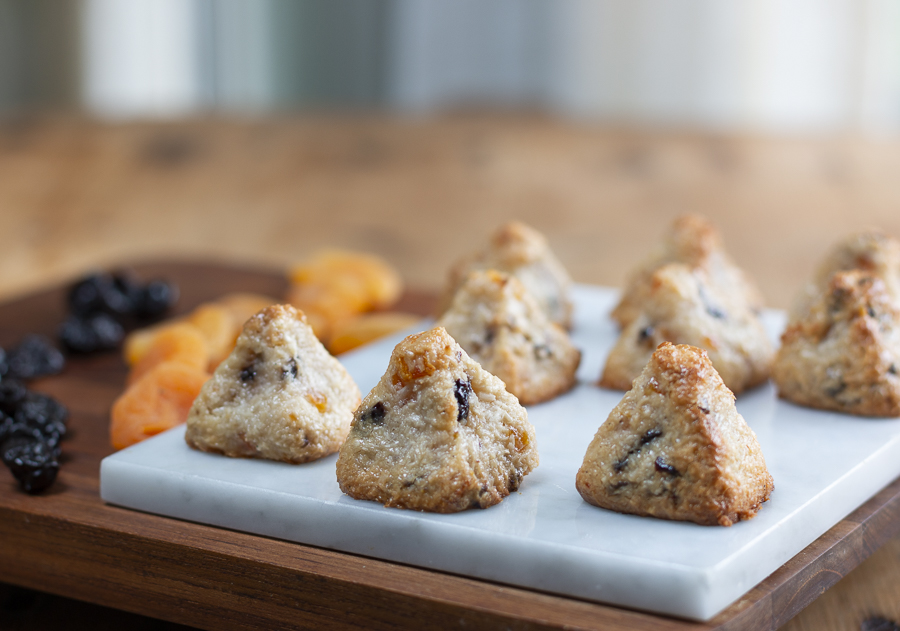 Pyramid shaped Macaroons with dried Apricots & Cherries