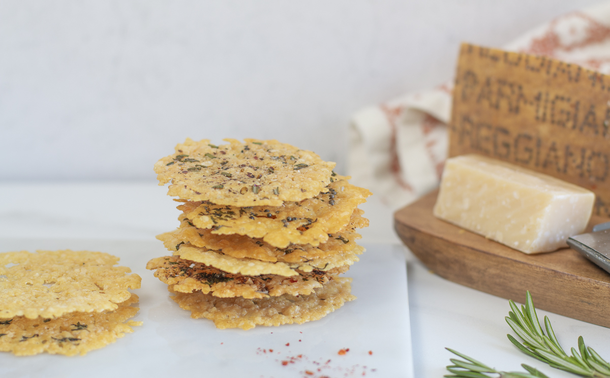 Stacked Parmesan Crisps with assorted seasonings
