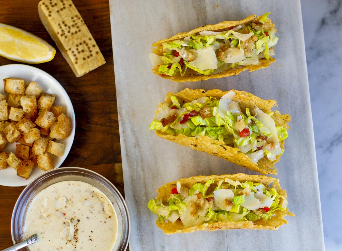 Caesar Salad Tacos with Parmesan Crisps