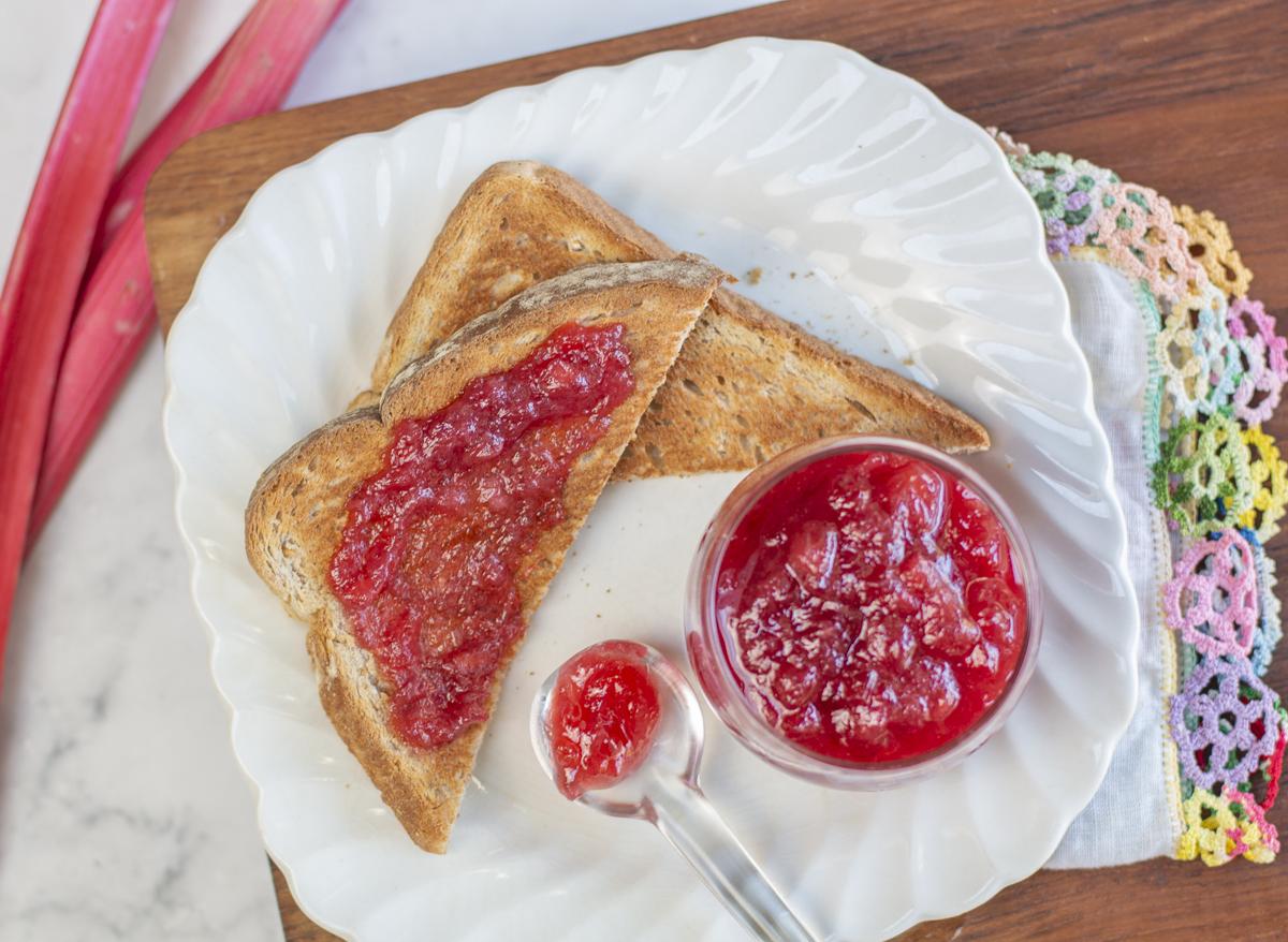 Rhubarb Vanilla Jam with Toast on vintage plate
