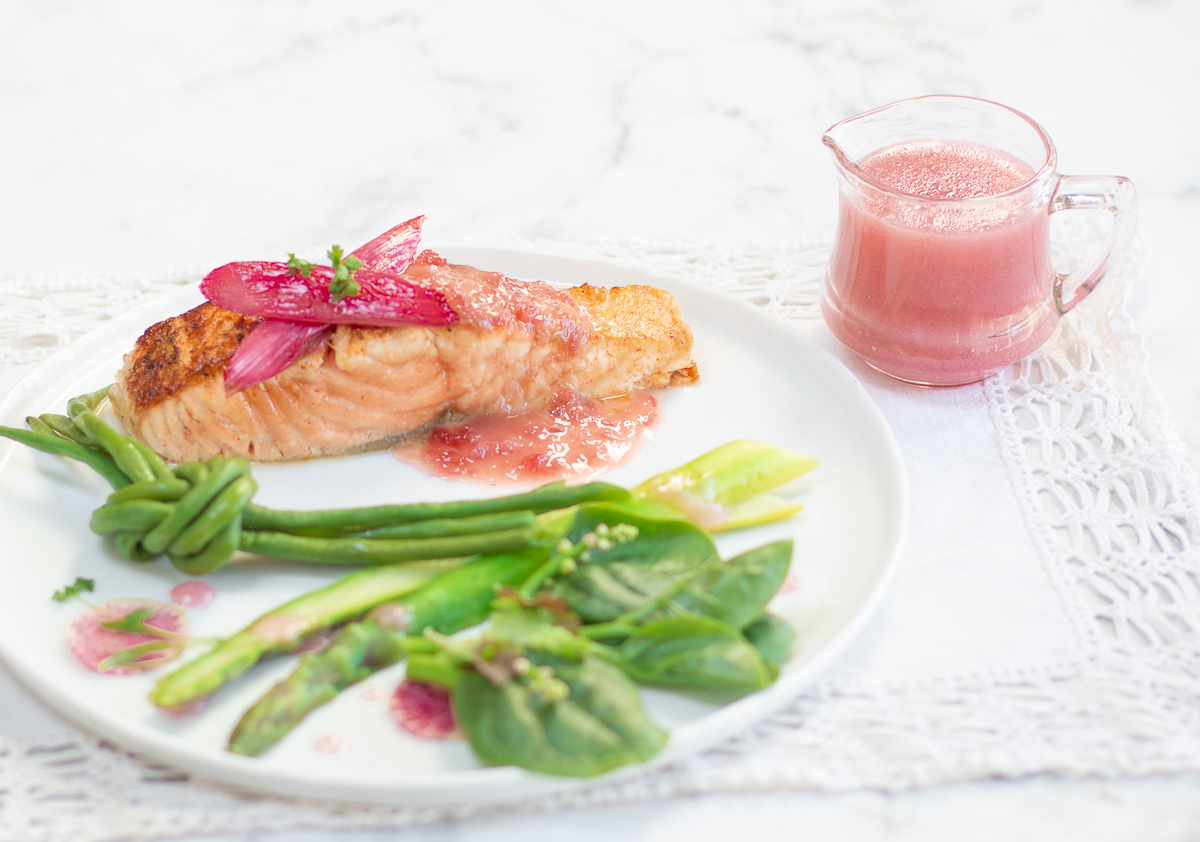 Salmon with Rhubarb Jam Butter Sauce with Spring Vegetables