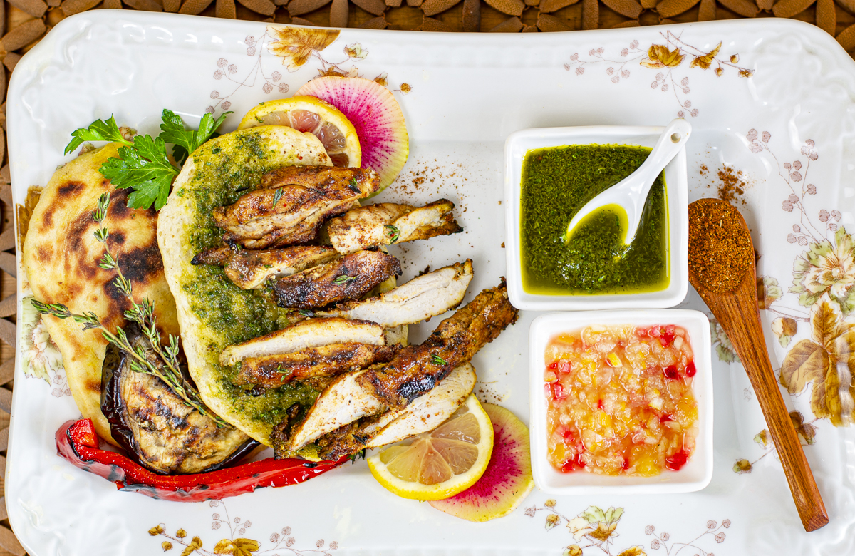 Spiced and Grilled Chicken with Iraqi Seasoning Mix on Naan Bread