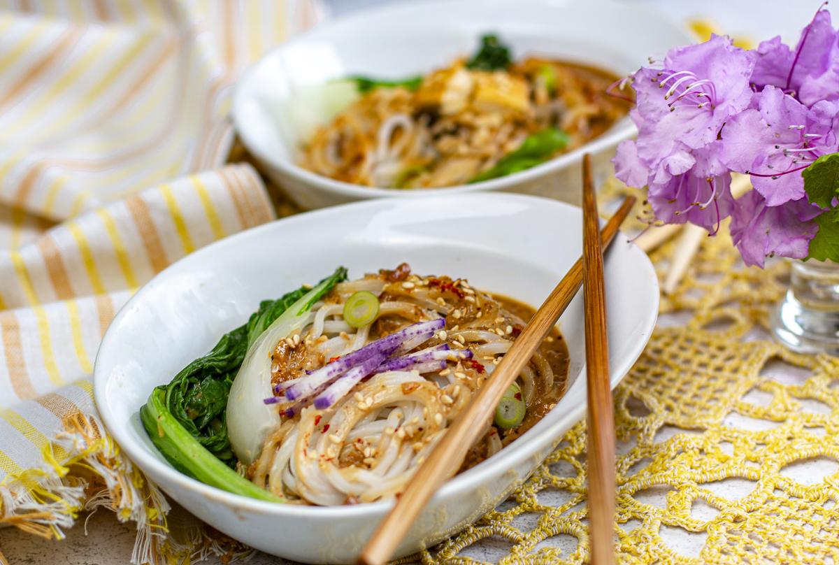 A simple pleasure - the perfectly seasoned bowl of steamy Dan Dan Noodles