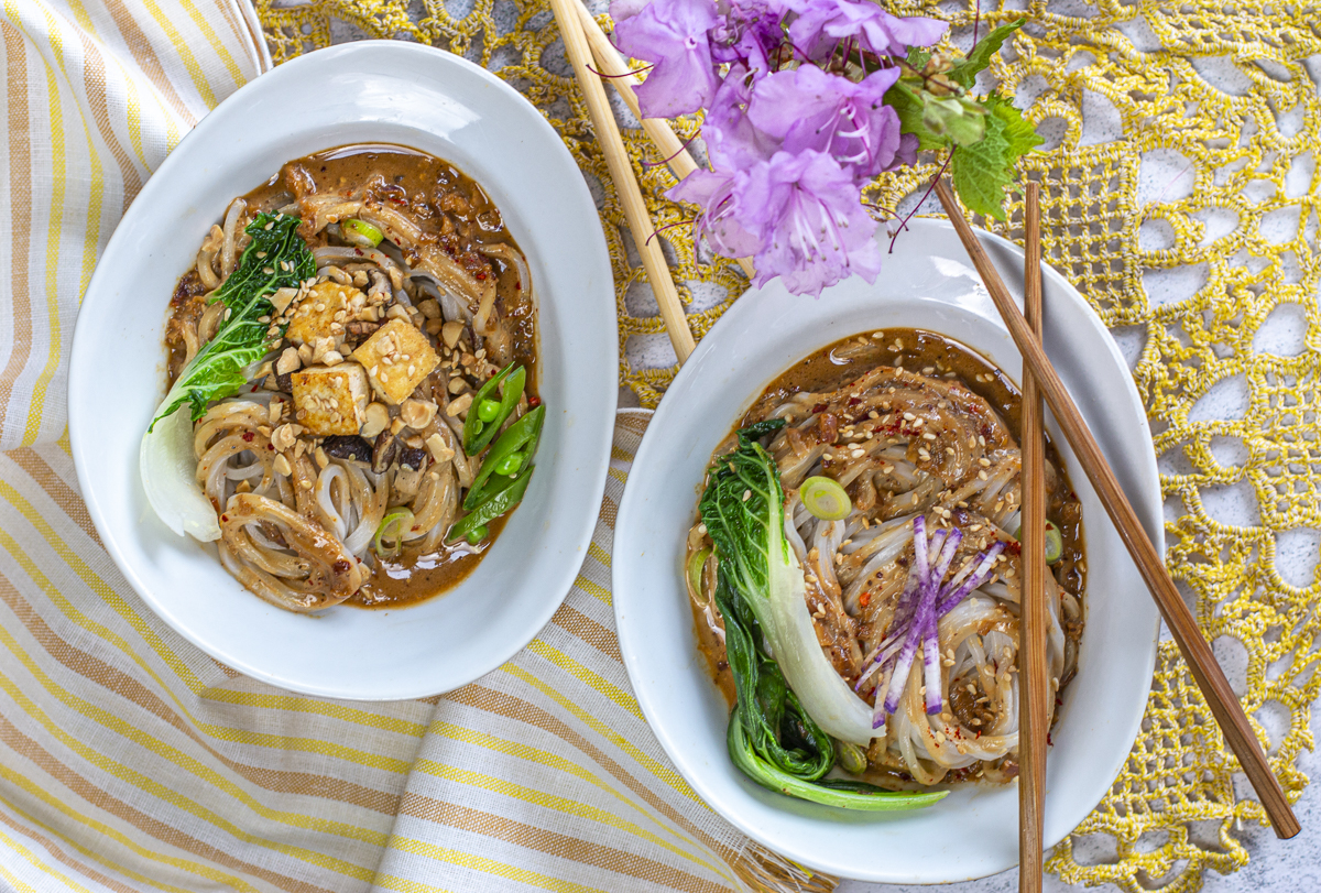 Dan Dan noodles with a combustion of flavors — savory, nutty, spicy, and smoky