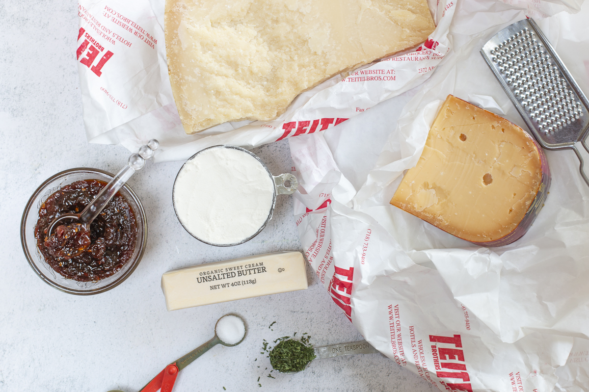 Ingredients for Savory Cheese Shortbread with Tomato Jam