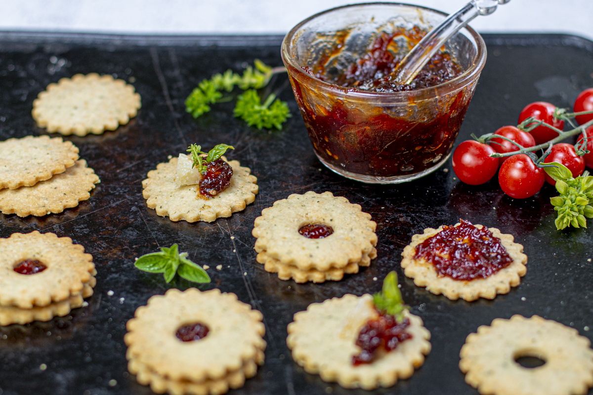 Shortbread Linzer Thins sandwiched with Tomato Jam
