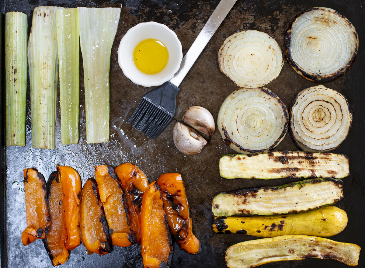 Veggies off the grill for caponata
