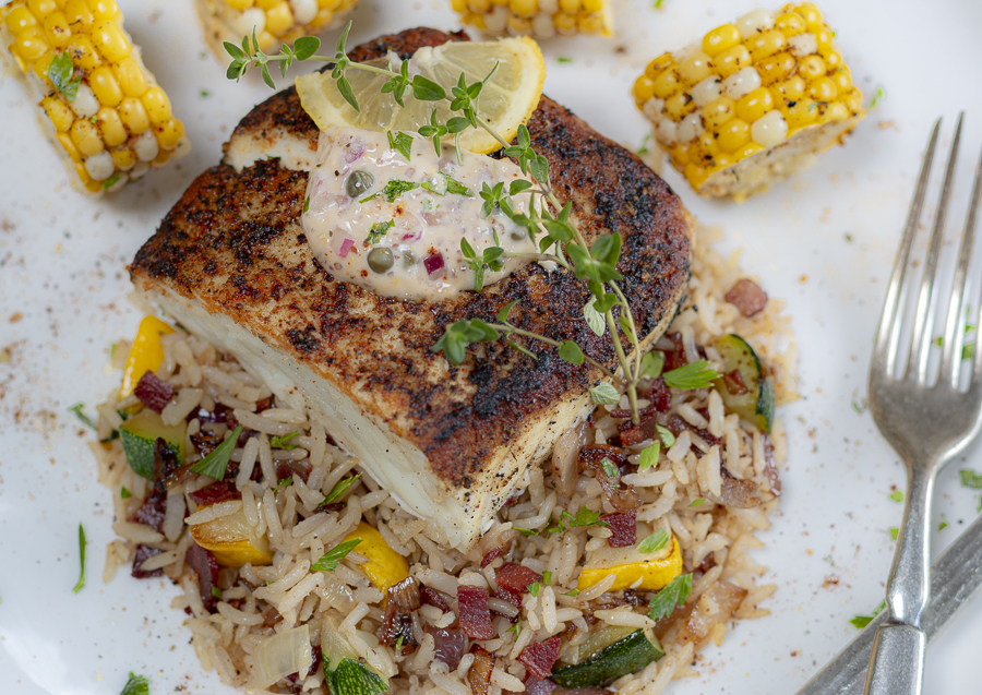 Blackened Halibut with Cajun Seasonings and Caper Remoulade