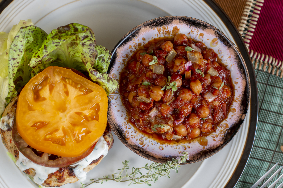 """Chickpea """"Baked Beans"""" with Lettuce Wrapped Chicken Burger"""