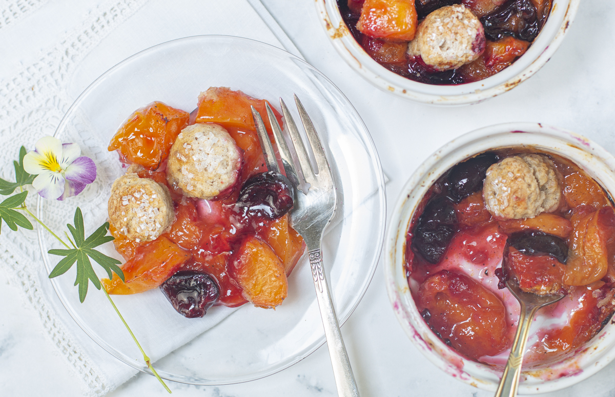 Apricot – Cherry Cobbler with Cinnamon Biscuits in individual ramekins