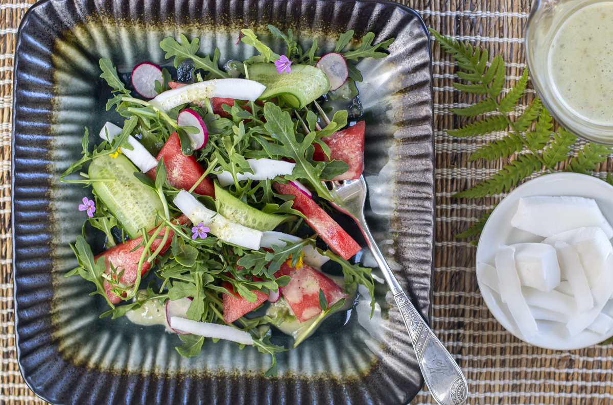 Watermelon & Fresh Coconut Salad with Thai Dressing, Mint and Basil