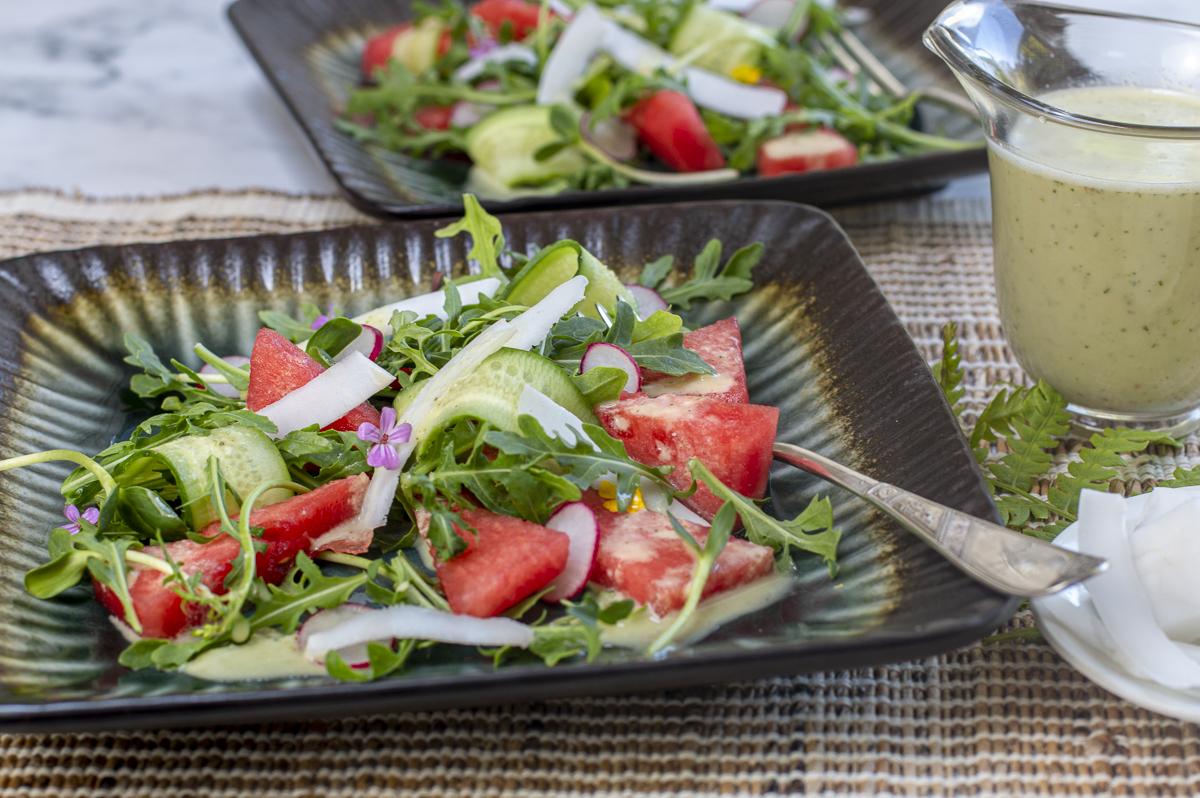Watermelon & Fresh Coconut Salad
