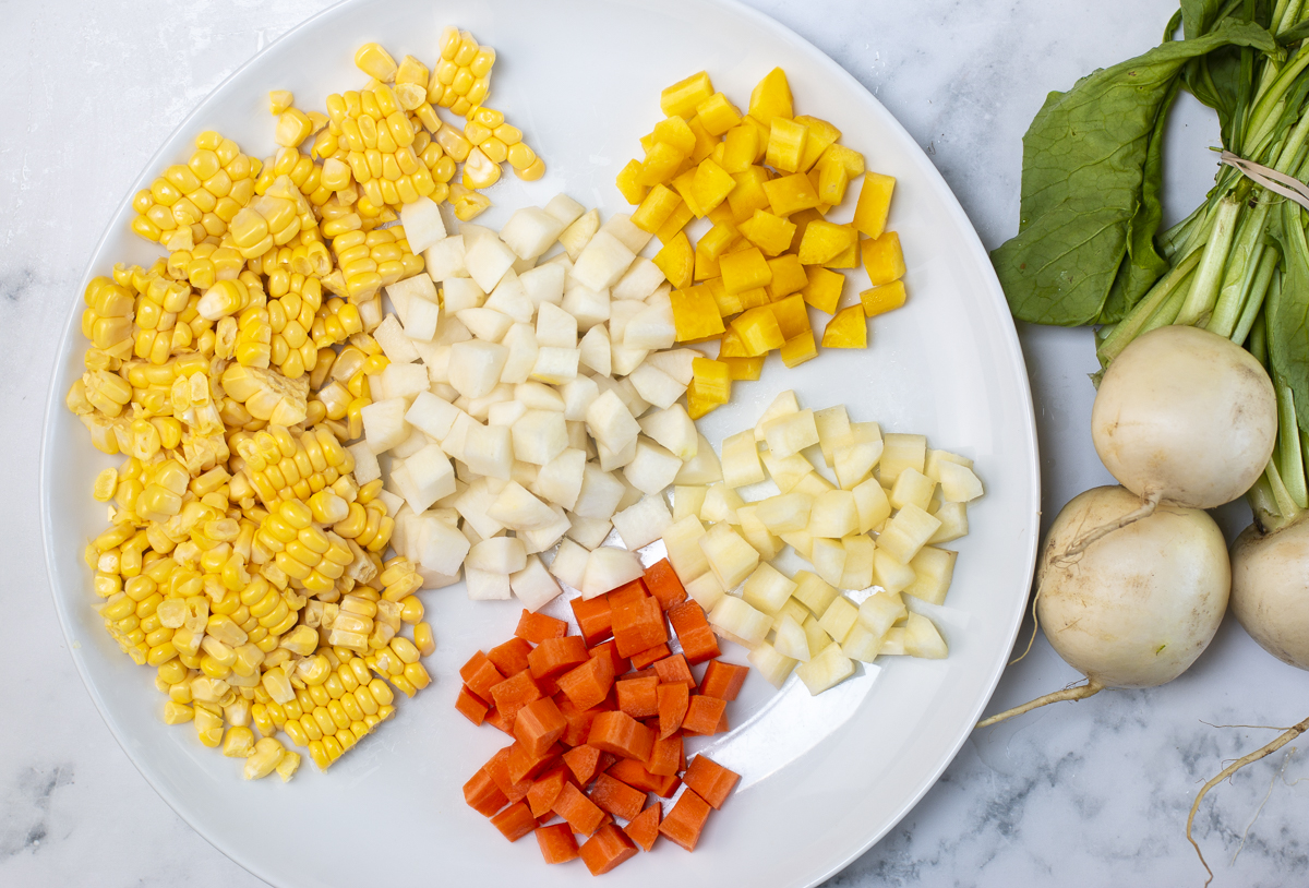 Dice all veggies evenly - look for multi-colored carrots