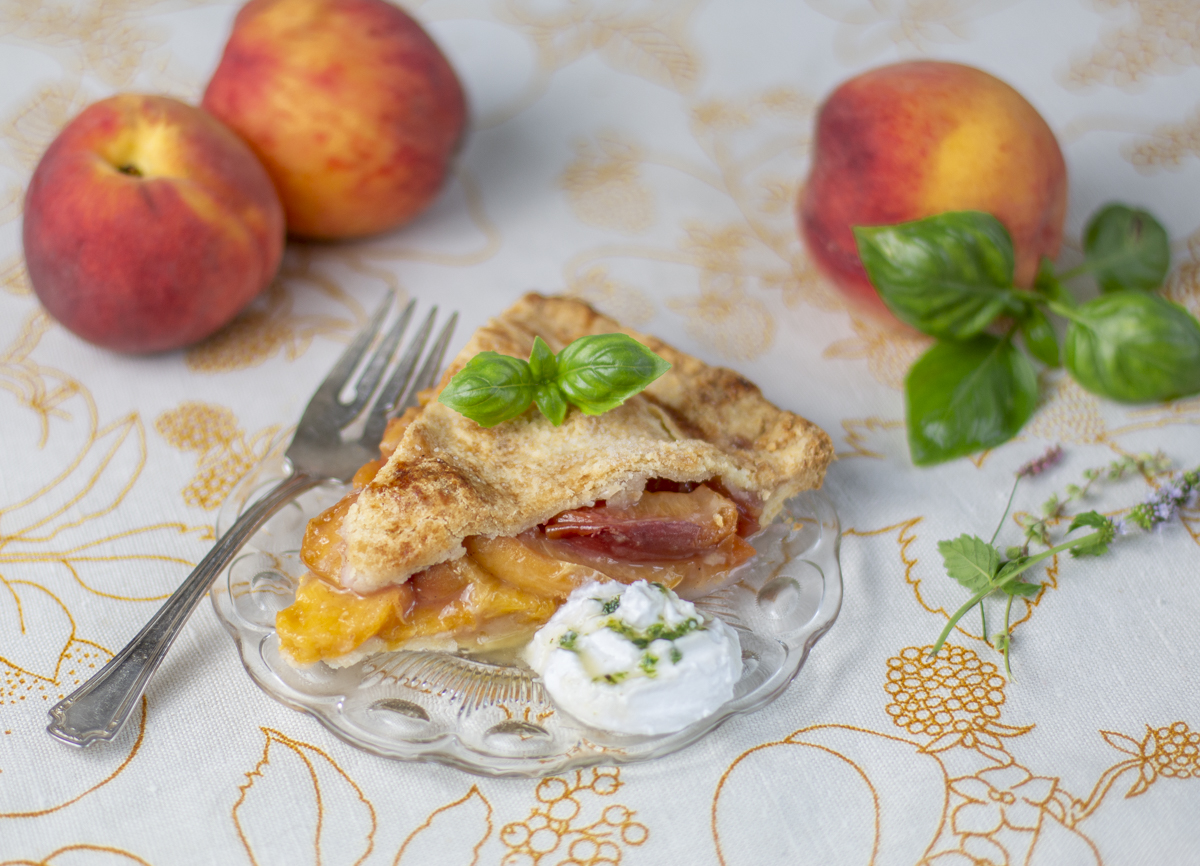 One Slice of Perfect Peach Pie with Whipped Coconut Cream & Basil Syrup