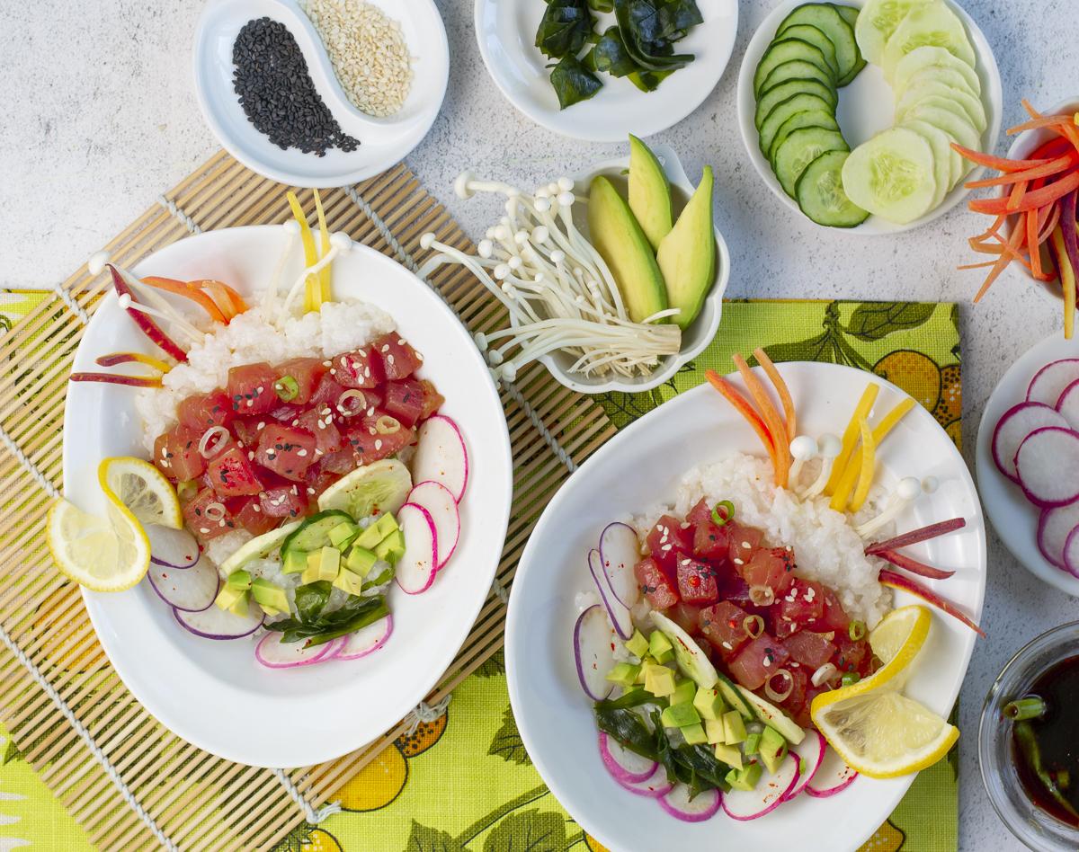 Poke Bowl with Fresh Tuna, Rice & Summer Veggies