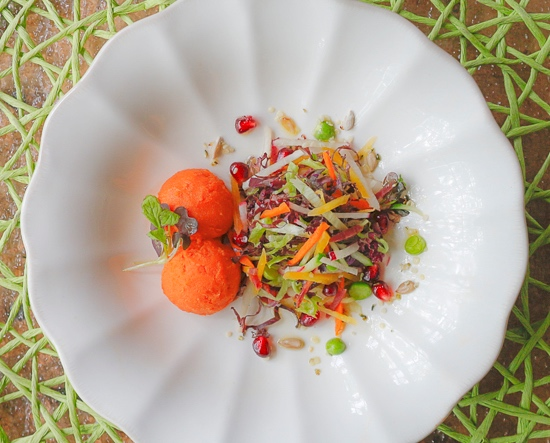 Super Crunch Salad with Carrot Sorbet