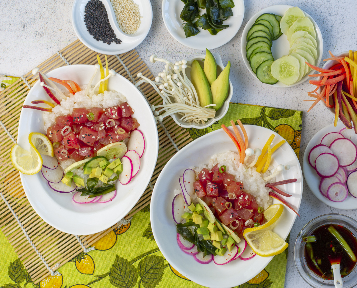 Two Poke Bowls with rice, tuna & summer veggies