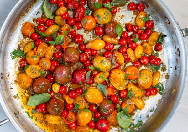 Burst Heirloom Tomato Sauce in skillet