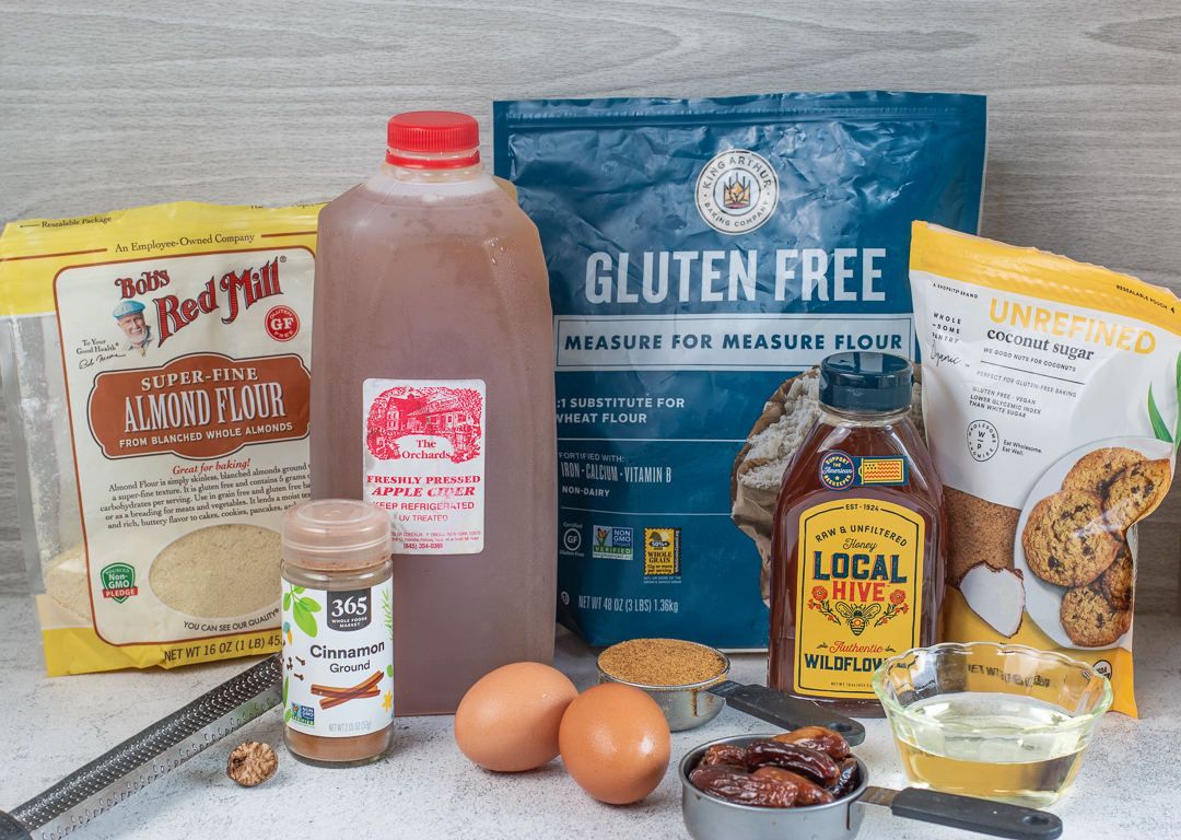 Ingredients for Karen's Honey Cake with Raspberry Glaze Gluten Free