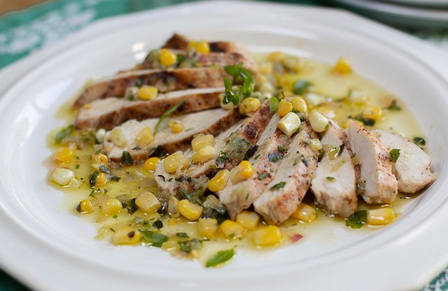 Mediterranean EVOO Herb & Corn Sauce served over grilled chicken