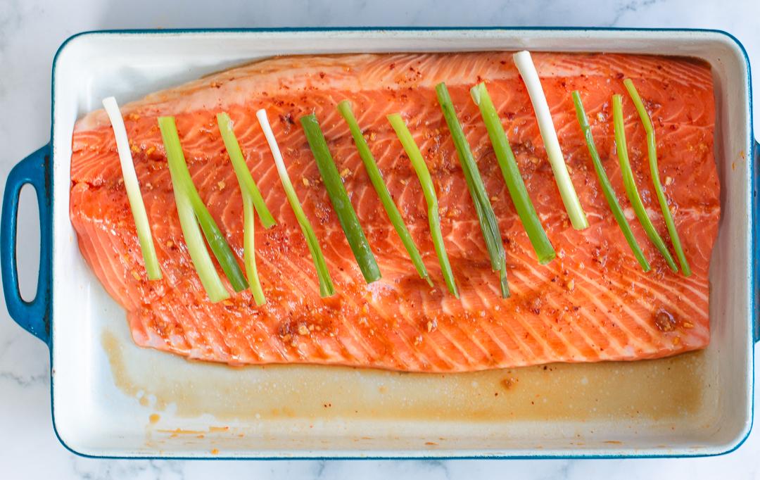 Marinating salmon for cedar planking