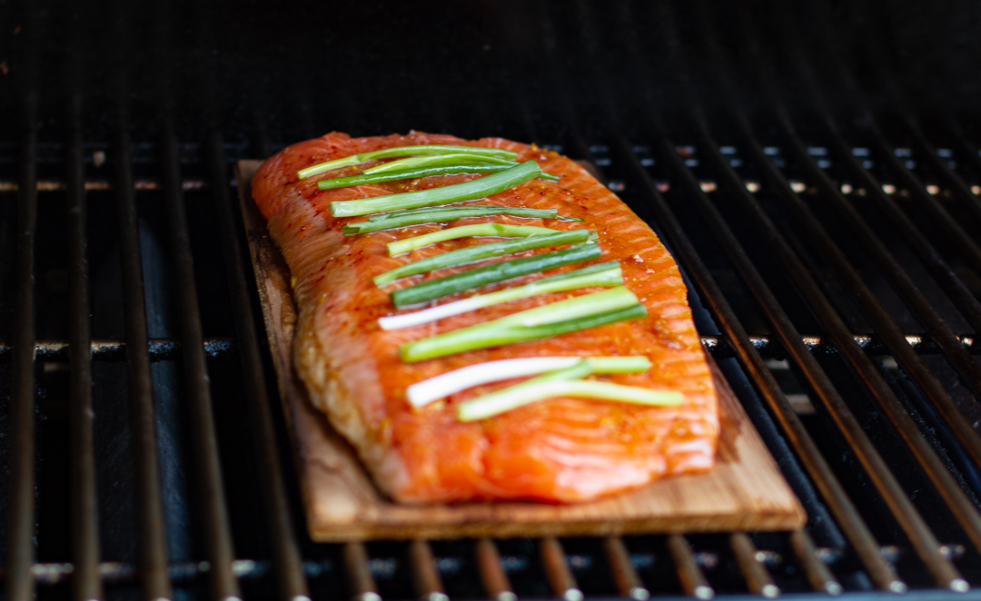 Salmon on cedar plank going in the grill - keep the top closed!