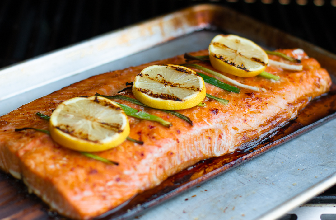 Perfectly cooked off the grill; salmon on Cedar Planks - ready to remove and serve!