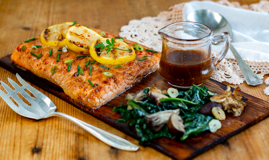 Crazy Delicious Cedar Planked Salmon with Honey, Soy & Ginger Glaze