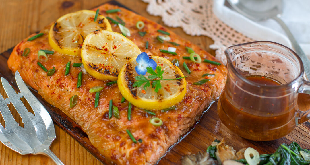 Crazy Delicious cedar Planked Salmon with Honey, Soy & Ginger
