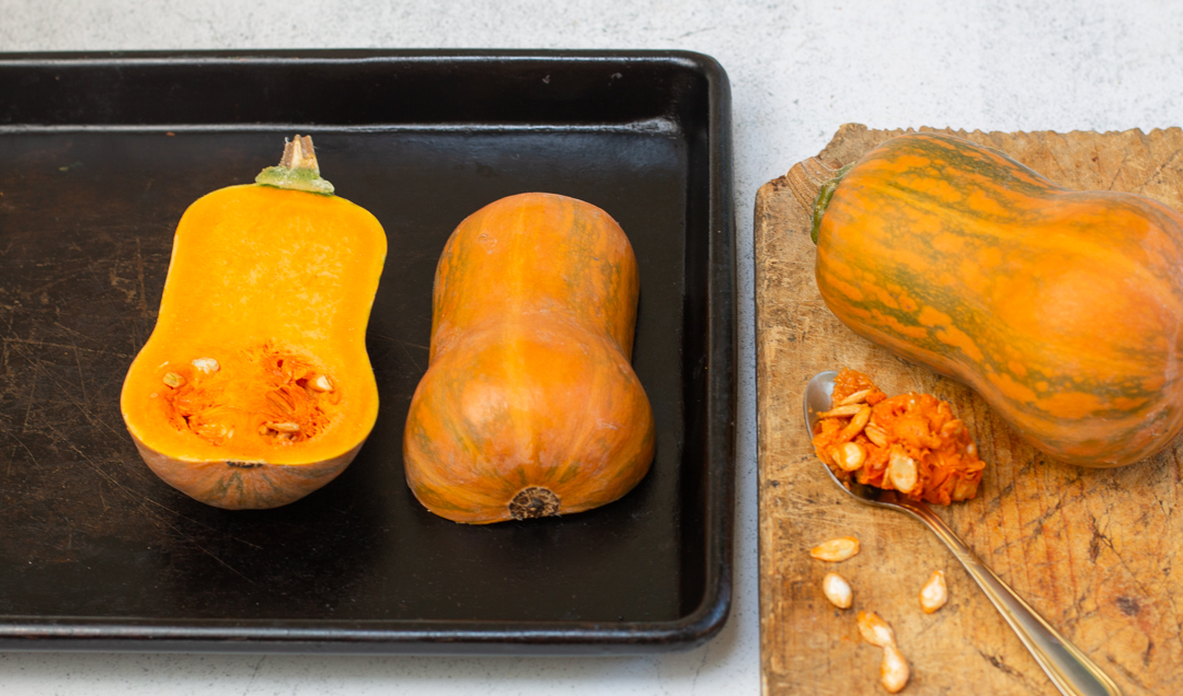 Cut 2 Honeynut squashes in half, roast cut side down with a brushing of neutral oil; s&p