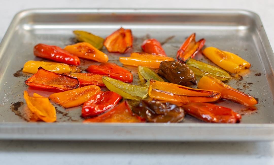Roast the Colorful Peppers for the pilaf in the oven