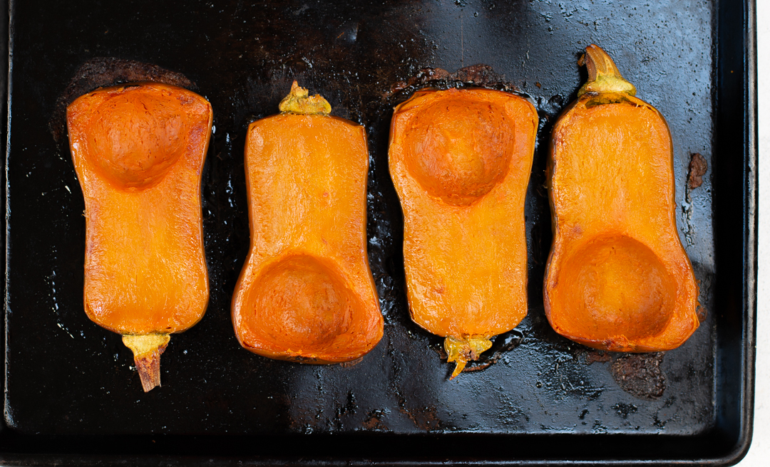 The roasted Honeynut Squash halves takes just 20 minutes