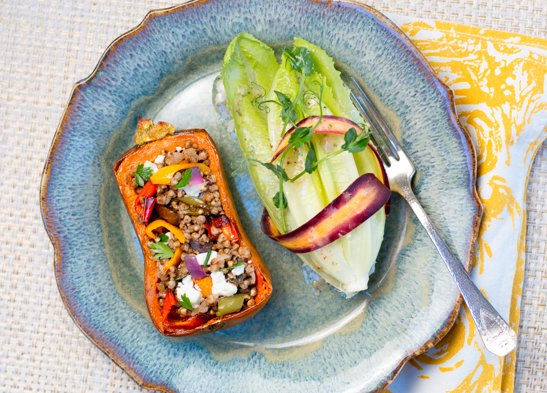 I'm serving the Honeynut Squash with a simple salad with Organic Pea Shoots