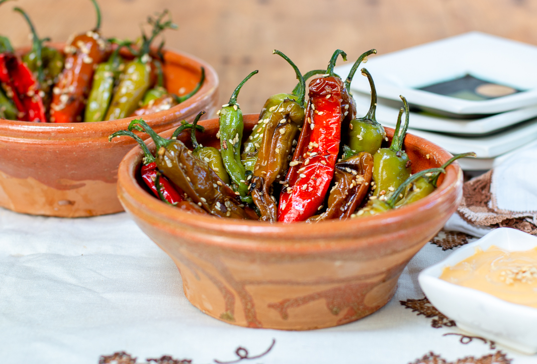 Serving the Blistered Shishito Peppers in Vintage French Glazed Clay Bowls