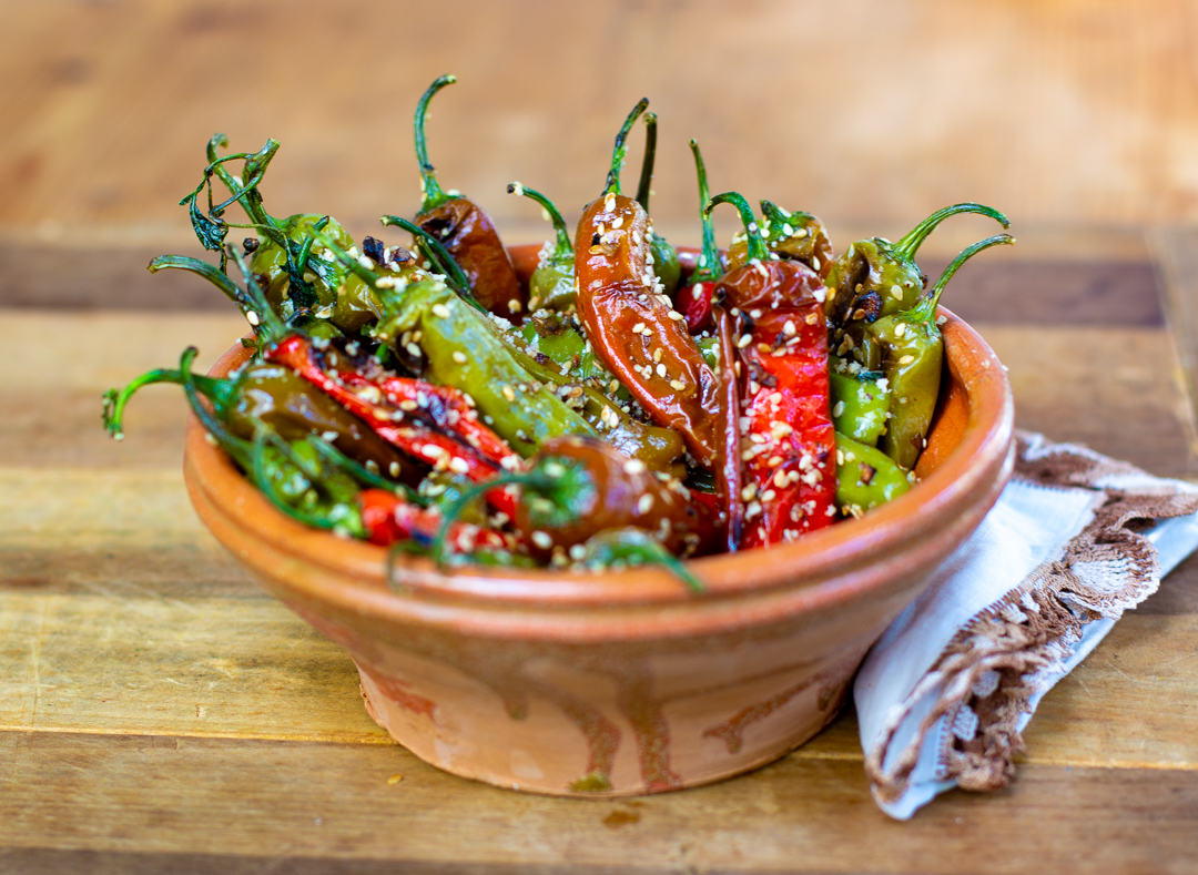Peppers with Sesame Seeds, Shallots and Hazelnuts in French Clay bowl