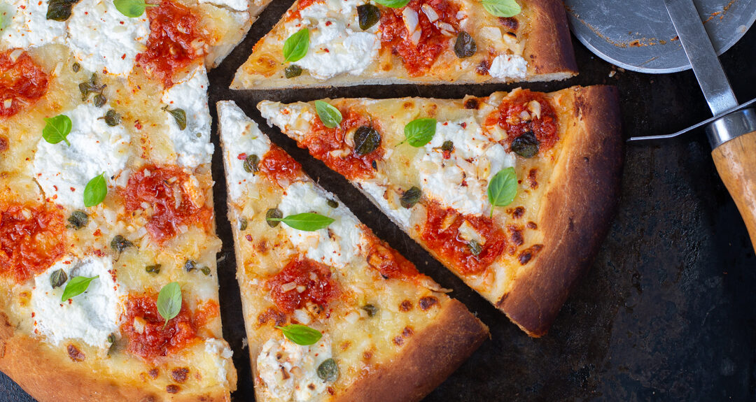 Double Garlic Pizza with Roasted & Chopped fresh Garlic