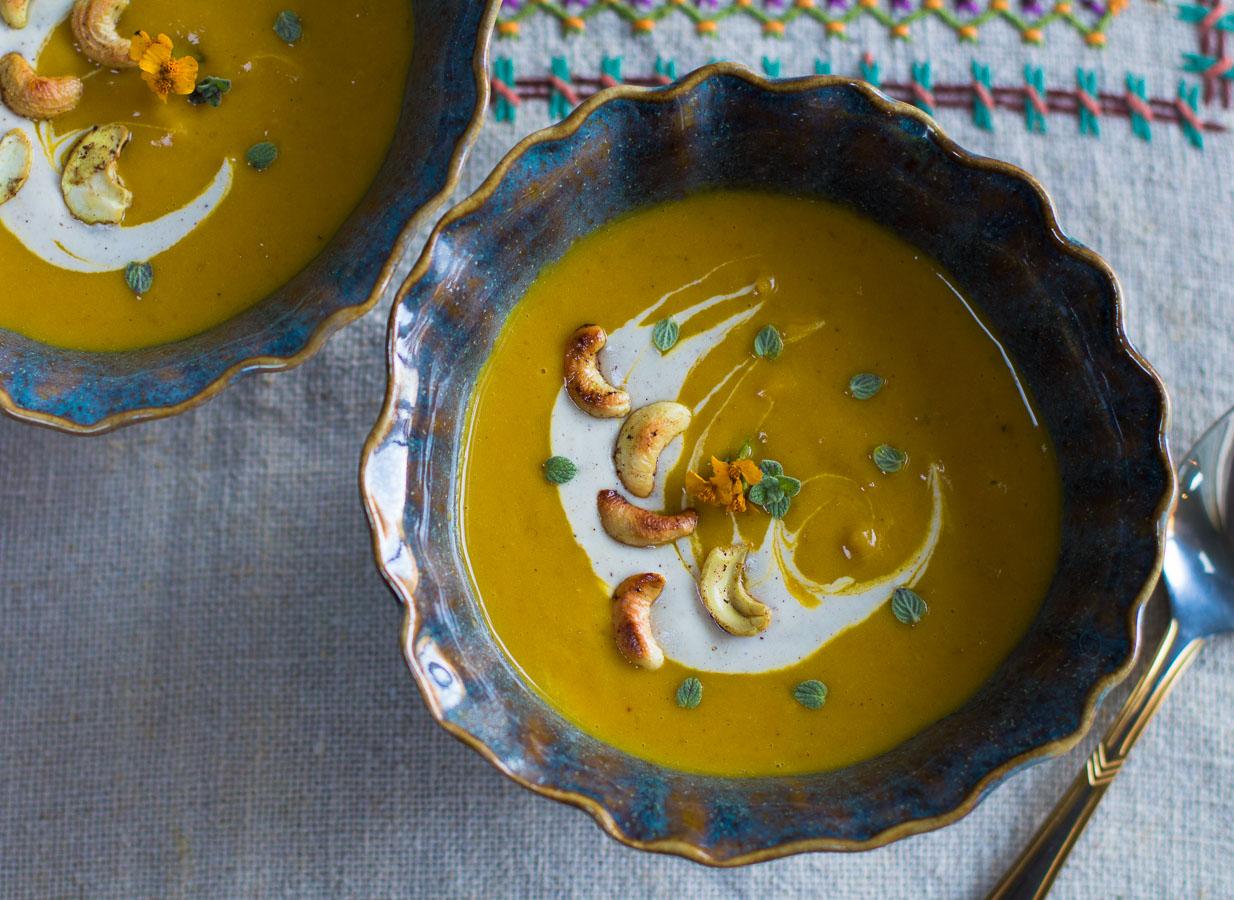 Kabocha Squash Soup with Apples and Cashew Crema ~ Vegan