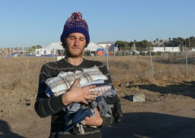 Homeless man receives clothes