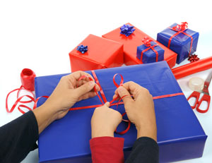 Family wrapping gifts