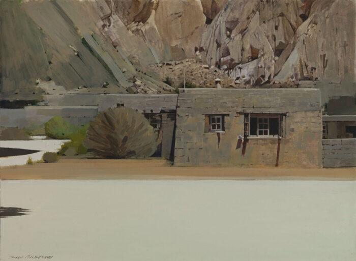 "Pueblo Grounds, acrylic, 22"" x 30"""