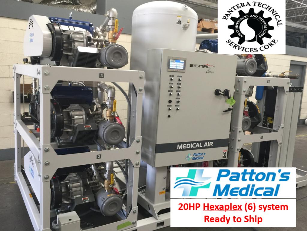 20Hp ea. Hexaplex Medical Air system