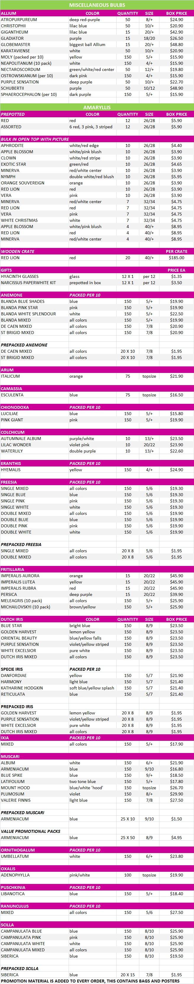 More Bulb Price List, Fall 2015
