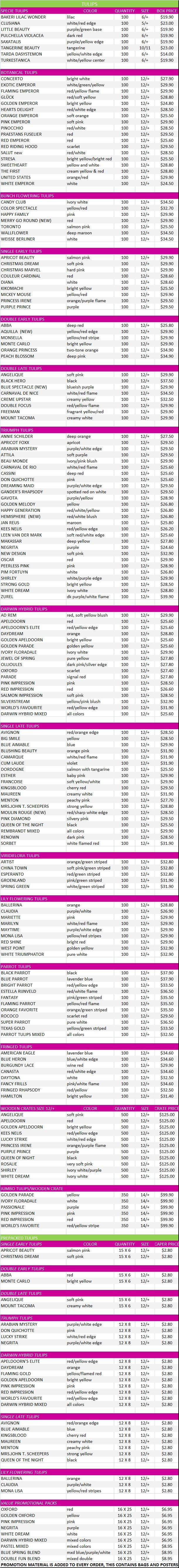 Tulip Price List, Fall 2015