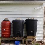 Three linked rain barrels